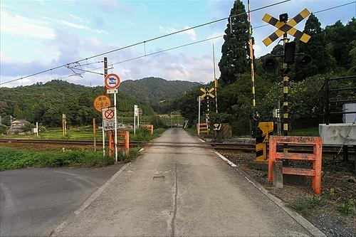 駅前右手の踏切